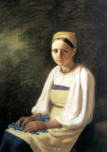А. Г. Венецианов, «Крестьянка с васильками», 1820-е гг.