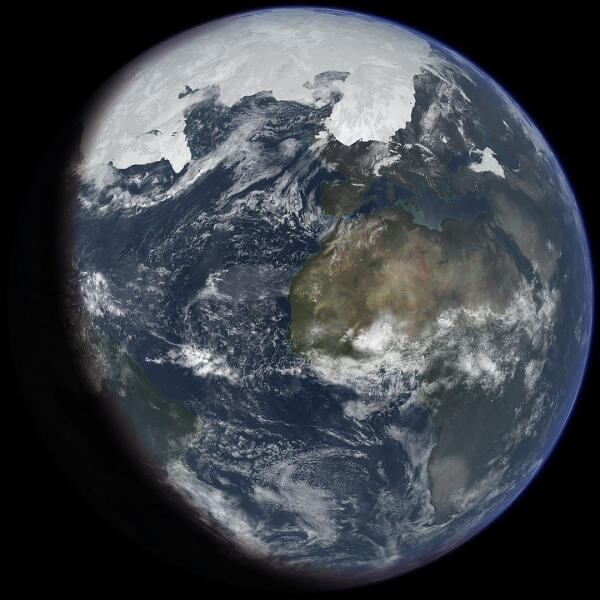 Земля во время ледникового периода. Вид из космоса