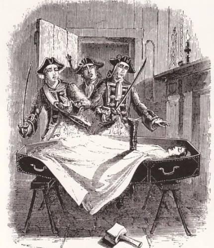 Гравюра XIX века, изображающая первую группу австрийских медиков, вплотную работавшую с балканскими вампирами