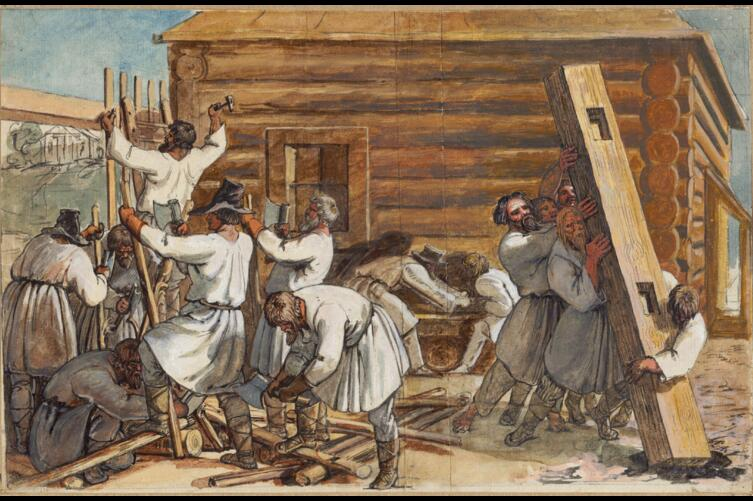 Г. Оэри, «Русские крестьяне строят избу», 1810-е гг.