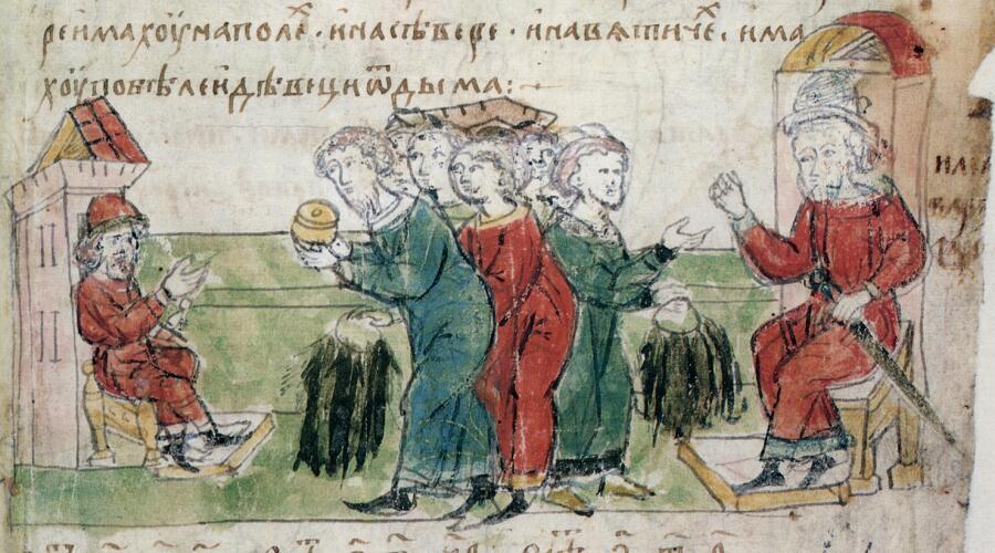 Миниатюра из Радзивилловской летописи, XV в. Славяне платят дань хазарам