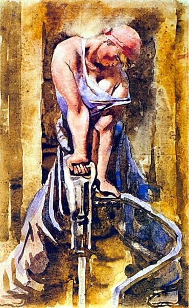 А. Н. Самохвалов, «Метростроевка со сверлом», 1937 г.