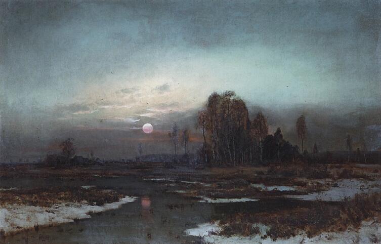 А. К. Саврасов, «Осенний пейзаж с заболоченной рекой при луне», 1871 г.