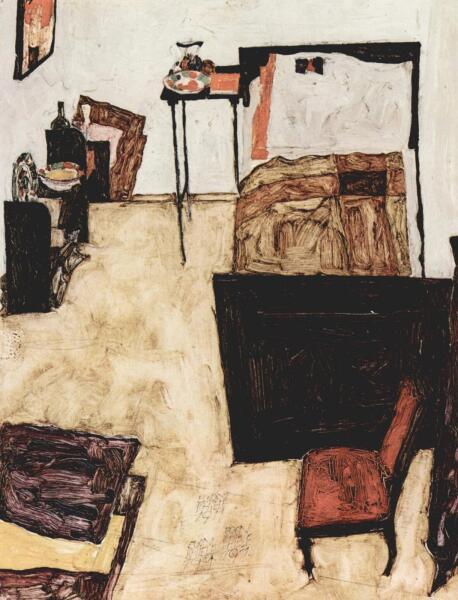 Эгон Шиле, «Спальня Шиле в Нойленгбахе», 1911 г.