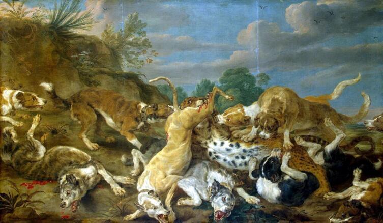 Пауль де Вос, «Охота на леопарда», 1630-е гг.