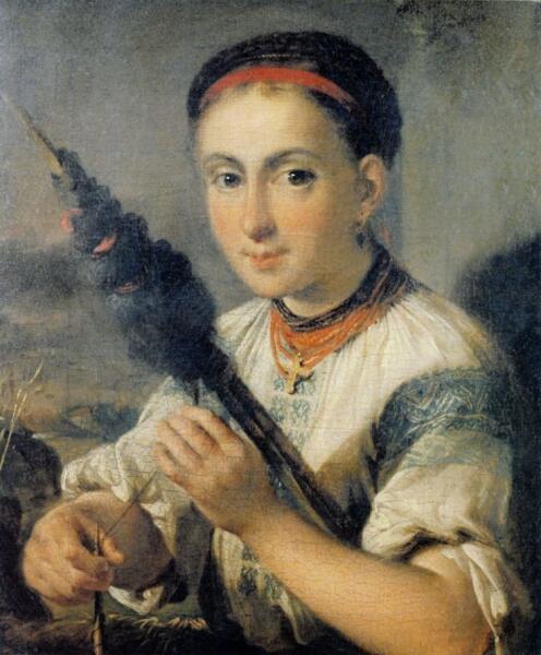 В. А. Тропинин, «Пряха», 1821 г.