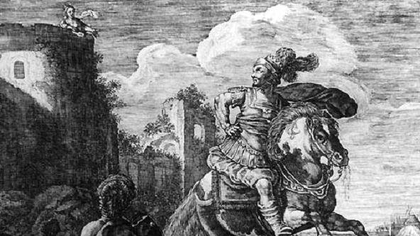 Скилла влюбляется в Миноса. Гравюра XVII века