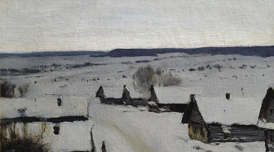 И. И. Левитан, «Деревня. Зима», 1878 г.