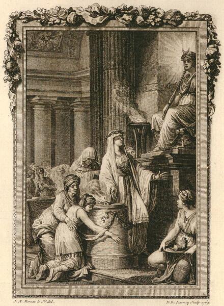 Николас де Леней по рисунку Жан-Мишеля Моро, «Молитва о превращении Ифиса в мальчика у алтаря Исиды», до 1792 г.