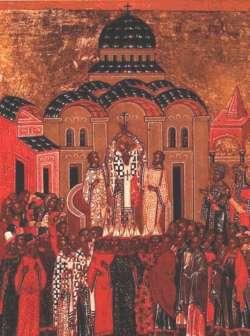Икона «Воздвижение Креста Господня». Новгород, XV век