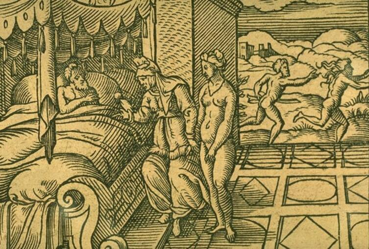 Виргиль Солис, иллюстрация к «Метаморфозам» Овидия, «Мирра», 1581 г.