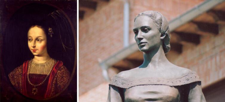 Беатрис Галиндо. Прижизненный портрет и скульптура Сальвадора Амайо