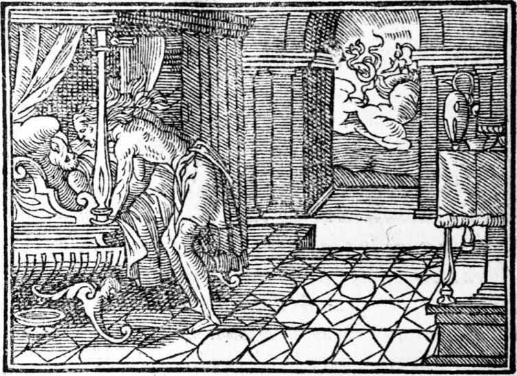 Богиня Голода и Эирисихтон, в книге «Овидий. Метаморфозы», Лейпциг, 1582, библиотека института Варбурга, Лондон, Англия. Под балдахином на кровати — Эрисихтон, над ним богиня Голода вдыхает в него свое наполненное голодом дыхание
