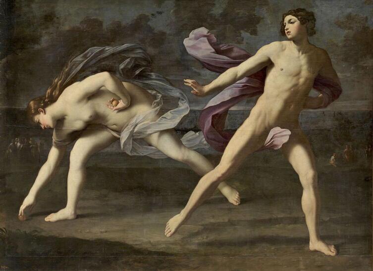 Гвидо Рени, «Аталанта и Гиппомен», ок. 1612 г. Гиппомен бросил последнее яблоко, Аталанта подбирает его, отстает и уступает первенство