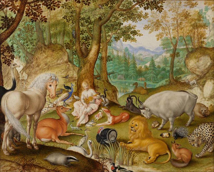 Якоб Хофнагель, «Звери, очарованные игрой Орфея», 1613 г.