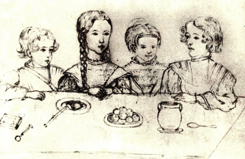 Дети Пушкина в 1841 году: Гриша, Маша, Таша, Саша. Михайловское. Рисунок Натальи Ивановны Фризенгоф