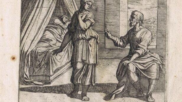 Антонио Темпеста, иллюстрация «Метаморфозы. Лигд говорит Телетузе о потомстве», 1606 г.