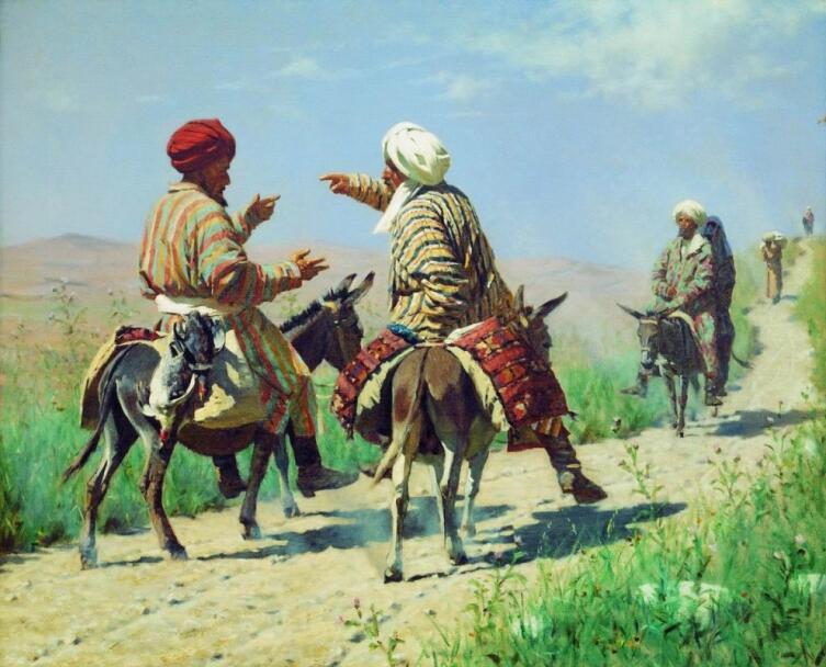 В. П. Верещагин, «Мулла Рахим и мулла Керим по дороге на базар ссорятся», 1873 г.