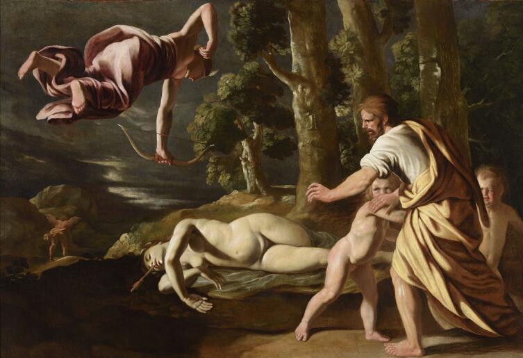 Никола Пуссен, «Смерть Хионы», 1622 г. Парящая в воздухе Диана выпустила стрелу, стрела видна в горле Хионы. Рядом — ее несчастный отец Дедалион и дети