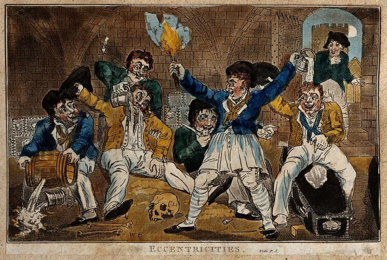 Пьянство в морском порту (иллюстрация начала XIX века)