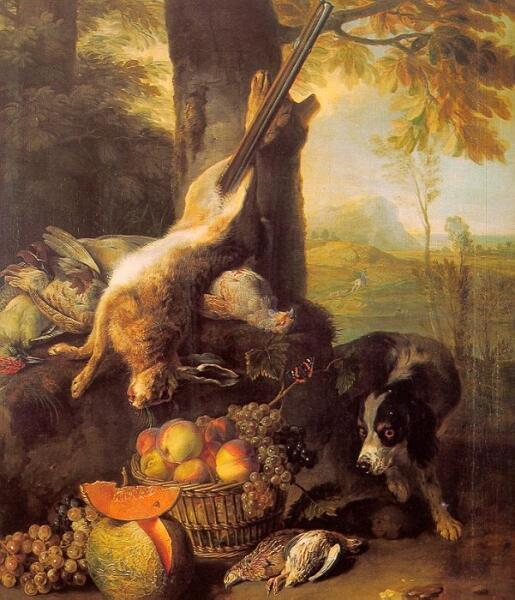 Александр Франсуа Деспортес, «Натюрморт с убитым заяцем и фруктоми»