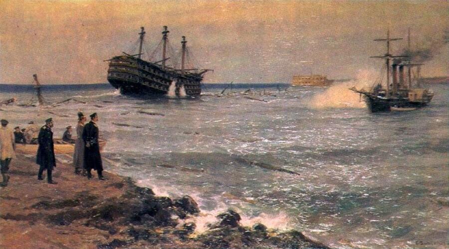 И. А. Владимиров, «Затопление кораблей Черноморского флота на Севастопольском рейде 11 сентября 1854 года», 1906 г.