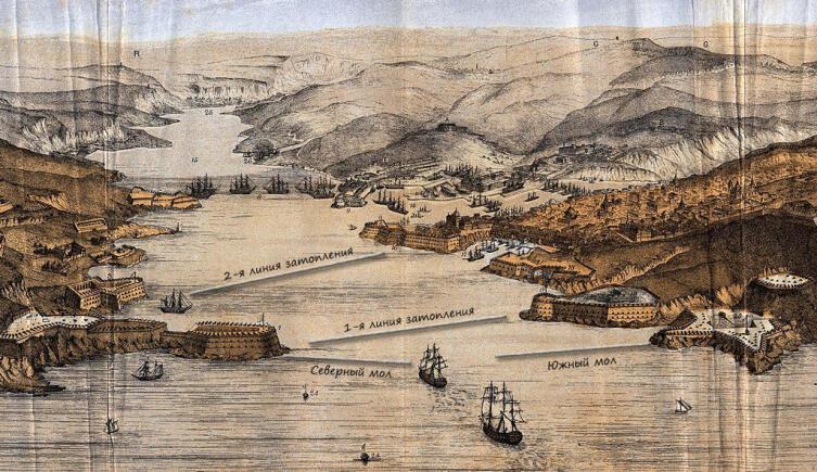 Схема затопления кораблей Черноморского флота в Севастопольской бухте