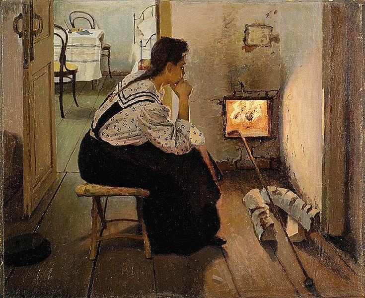Я. Я. Калиниченко, «Думы у печки», 1897 г.