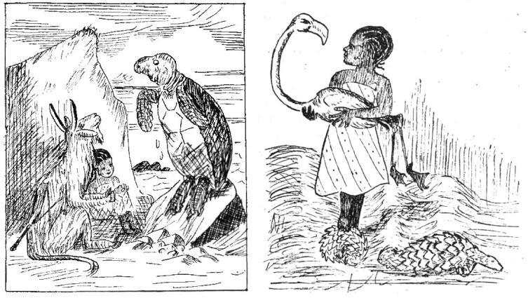 Иллюстрации неизвестного художника из издания «Elisi katika nchi ya ajabu» (1967)