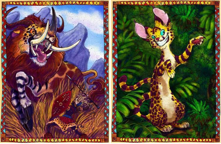 Бармаглот и Чеширский Кот на иллюстрациях Erin Taylor из издания «Alice's Wonderful Adventures in Africa» (2009)