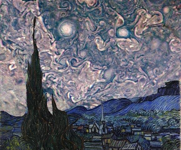 «Звездная ночь», версия с небом Юпитера