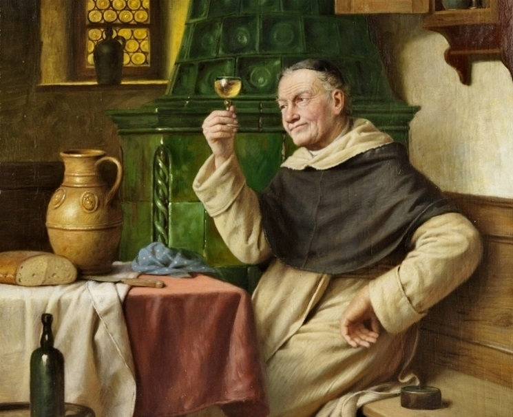 Йозеф Вагнер-Хохенберг, «Монах дегустирующий вино» (фрагмент)