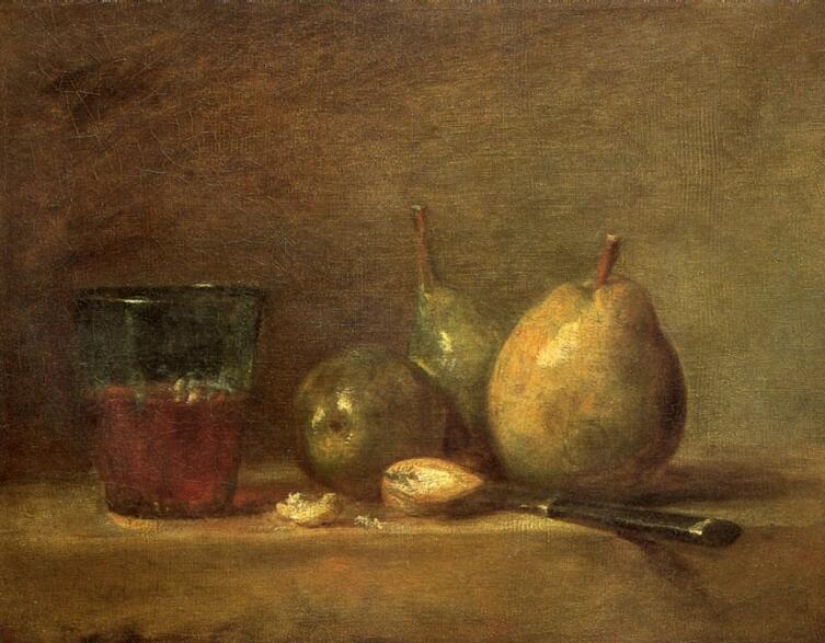Жан Батист Симеон Шарден, «Груши, грецкие орехи и стакан с вином», 1768 г.
