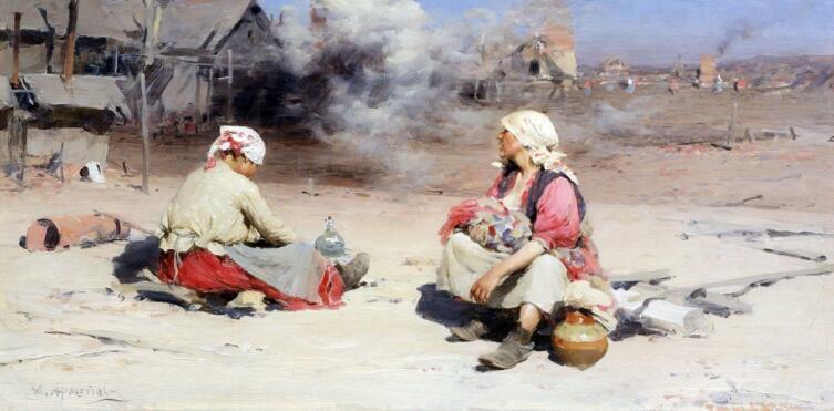 А. Е. Архипов, «Подёнщицы на чугунолитейном заводе», 1895 г.