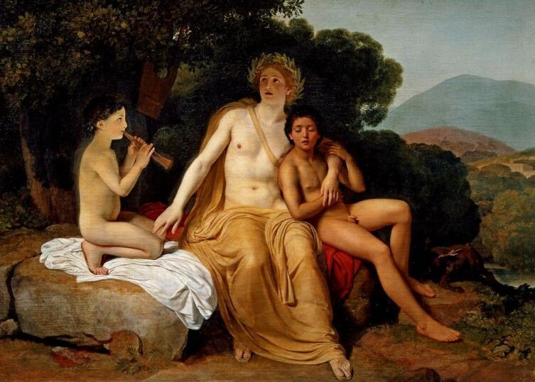 А. А. Иванов, «Аполлон, Гиацинт и Кипарис, занимающиеся музыкой и пением», 1834 г.