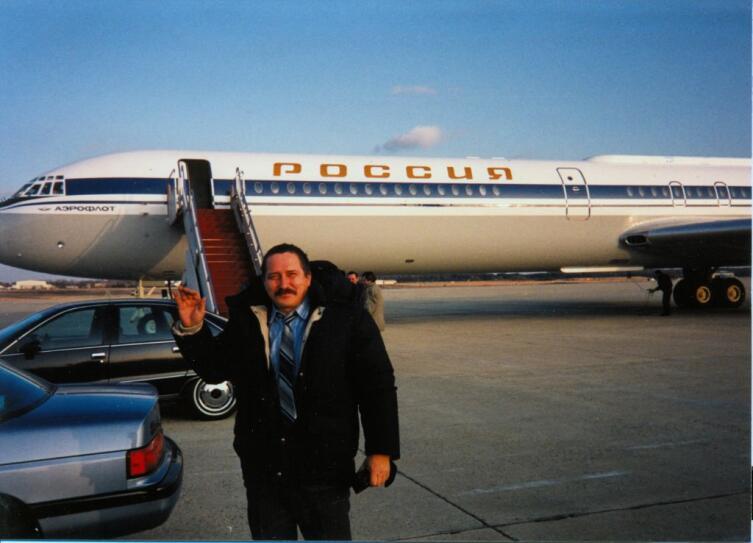 Во время встречи Б. Ельцына у «Борта №1 России» на военно-воздушной базе ВВС США Эндрюс под Вашингтоном. 01.02.1992 г.
