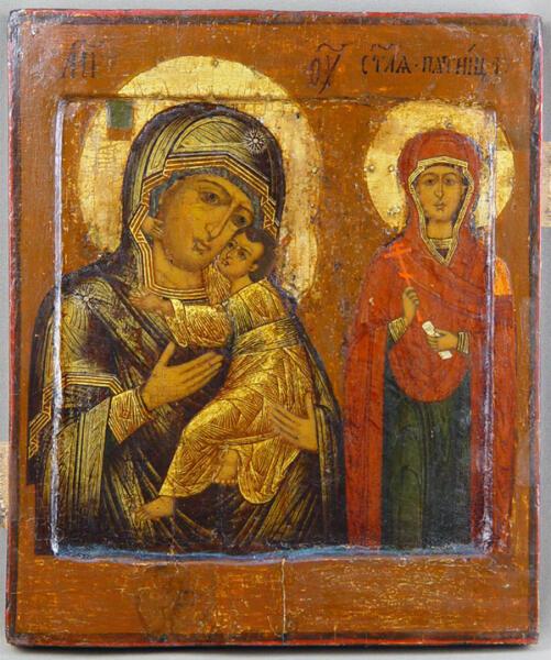 Икона «Пресвятая Богородица Умиление и Святая Параскева Пятница» XVII века