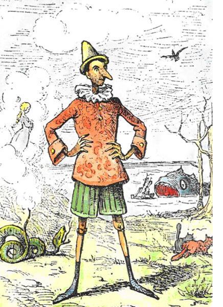 Пиноккио, рисунок из книги 1883 г.