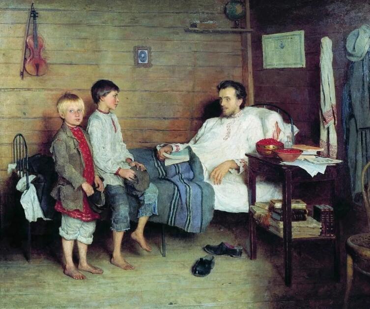 Н. П. Богданов-Бельский, «У больного учителя», 1897 г.