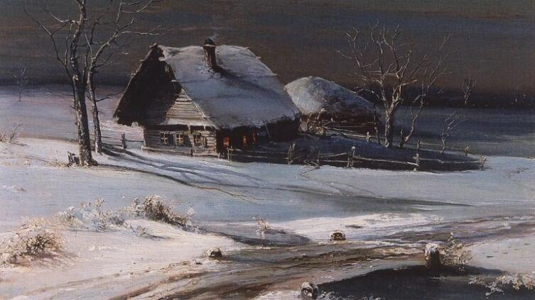 А. К. Саврасов, «Зимний пейзаж» (фрагмент), 1871 г.