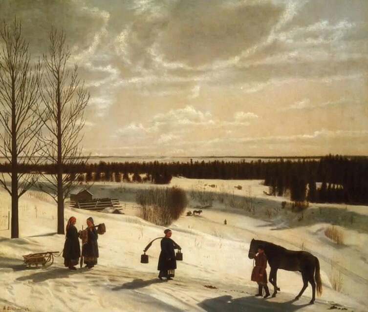 Н. С. Крылов, «Зимний пейзаж (Русская зима)», 1827 г.