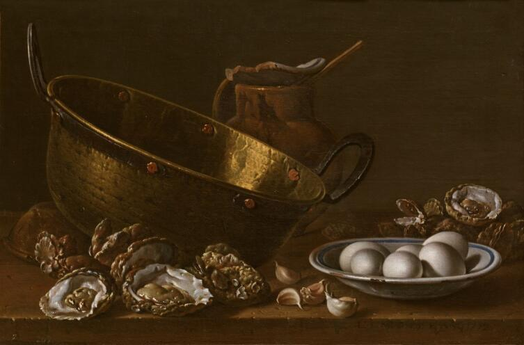 Луис Мелендес, «Натюрморт с устрицами, чесноком и яйцами», 1772 г.