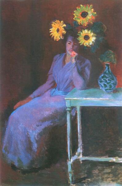 Клод Моне, «Портрет Сюзанны Ошеде с подсолнухами», 1890 г.