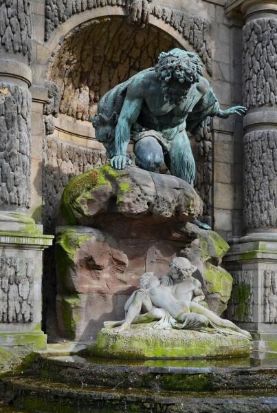 Огюст Оттен, «Полифем, Акид и Галатея»  (Фонтан Медичи в Париже), 1866 г.