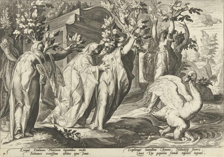 Хендрик Гольциус, иллюстрация к «Метаморфозам» Овидия, «Превращение Кикна в лебедя», 1590 г.