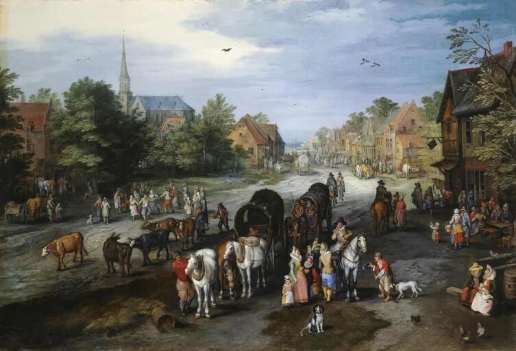 Ян Брейгель Старший, «Вид деревни Схелле (Улица в деревне)», 1600-е гг.