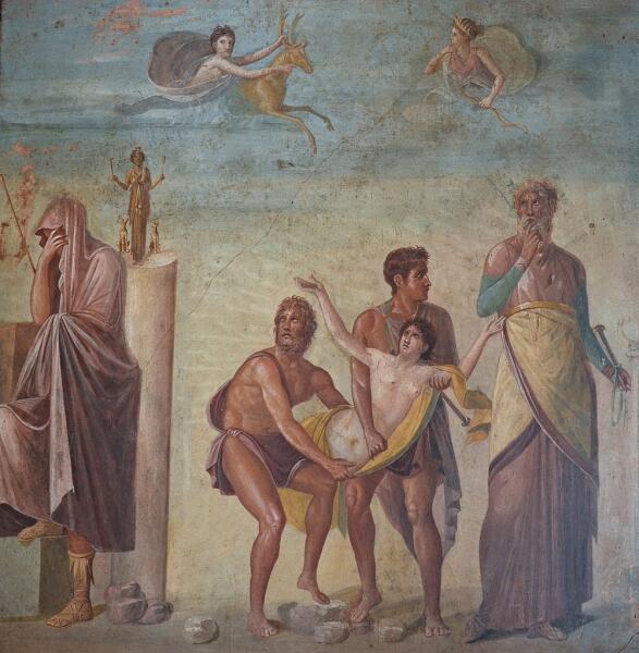 Жертвоприношение Ифигении, фреска из Дома трагического поэта в Помпеях