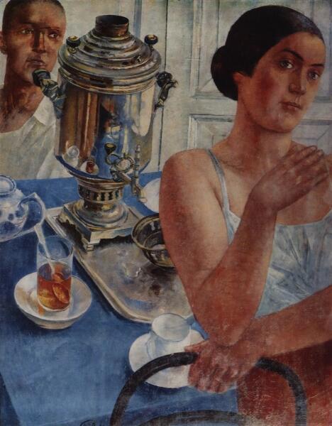 К. С. Петров-Водкин, «За самоваром», 1926 г.