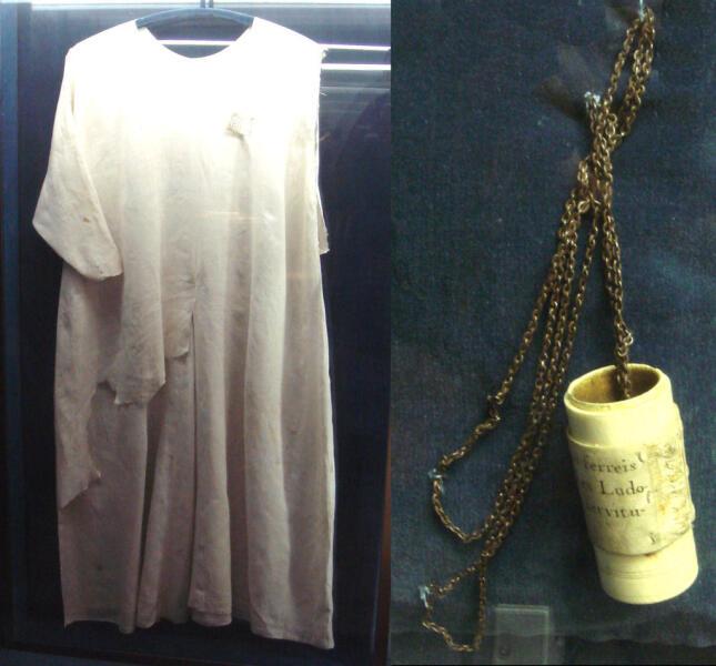 Волосяная рубашка и бич Людовика IX, сокровищница Собора Парижской Богоматери