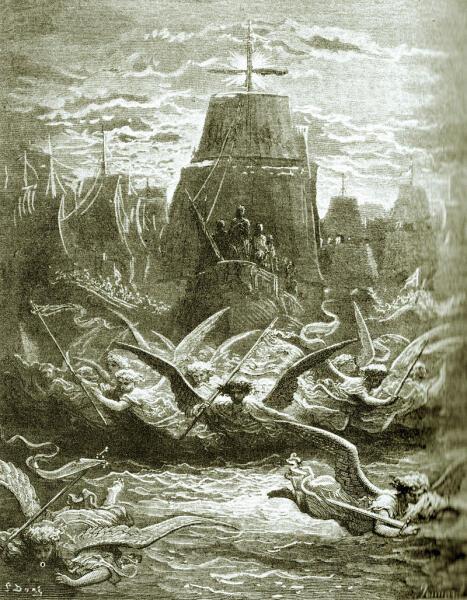 Гюстав Доре, Гравюра, «Отъезд короля Людовика IX из Эг-Морта в седьмой крестовый поход»